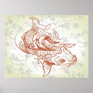 vintage japanese koi fish art 2 poster