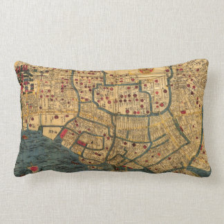 Vintage Japanese labelled map of Tokyo Lumbar Pillow