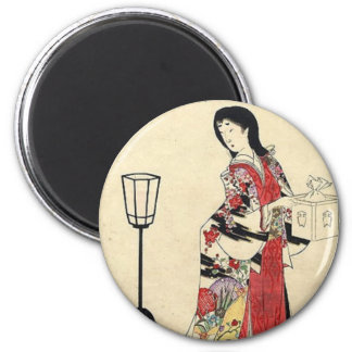 Vintage Japanese Lady in red 2 Inch Round Magnet