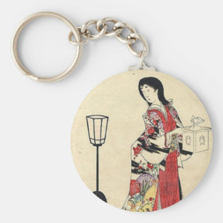 Vintage Japanese Lady in red Basic Round Button Keychain
