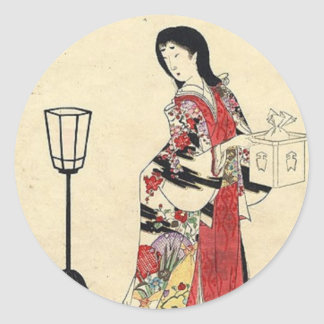 Vintage Japanese Lady in red Classic Round Sticker