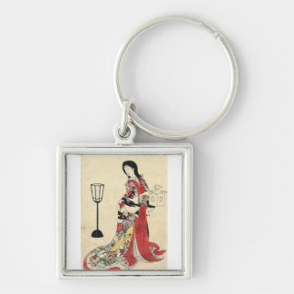 Vintage Japanese Lady in red Silver-Colored Square Keychain
