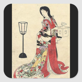 Vintage Japanese Lady in red Square Sticker