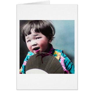 Vintage Japanese Little Girl and Paper Fan Japan Card