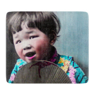Vintage Japanese Little Girl and Paper Fan Japan Cutting Board