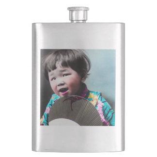 Vintage Japanese Little Girl and Paper Fan Japan Flask