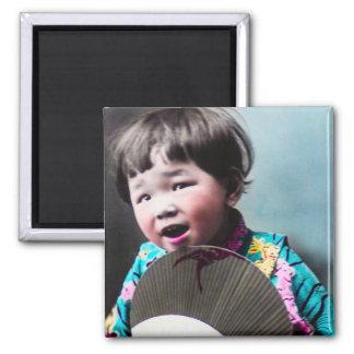 Vintage Japanese Little Girl and Paper Fan Japan Magnet