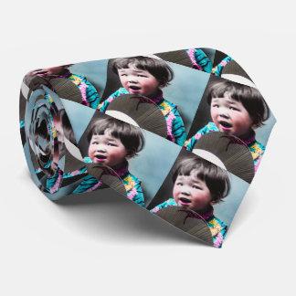 Vintage Japanese Little Girl and Paper Fan Japan Neck Tie