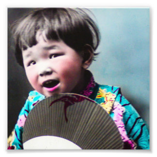 Vintage Japanese Little Girl and Paper Fan Japan Photo Print