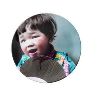 Vintage Japanese Little Girl and Paper Fan Japan Porcelain Plate