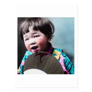 Vintage Japanese Little Girl and Paper Fan Japan Postcard