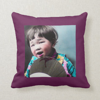 Vintage Japanese Little Girl and Paper Fan Japan Throw Pillow