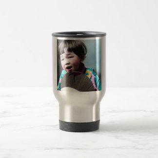 Vintage Japanese Little Girl and Paper Fan Japan Travel Mug