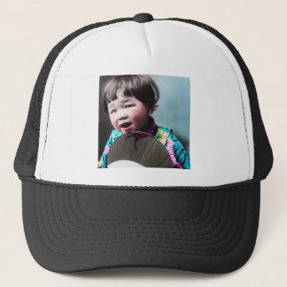 Vintage Japanese Little Girl and Paper Fan Japan Trucker Hat