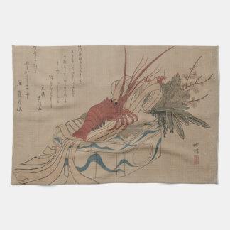Vintage Japanese Lobster Art Image Kitchen Towel