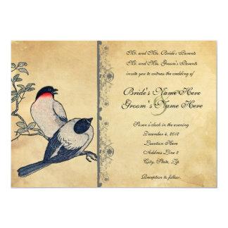Vintage Japanese Lovebirds Wedding Invitation