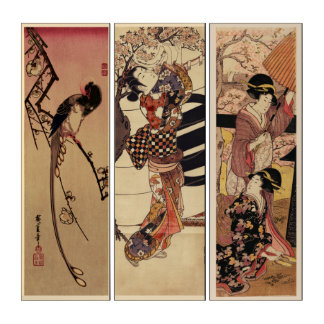 Vintage Japanese Magpie Women Cherry Blossoms Triptych