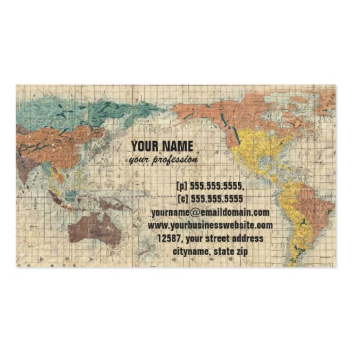 Vintage Japanese Map of the World Business Card Template (back side)