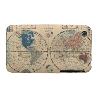 Vintage Japanese Map of World Blackberry Curve  Ca iPhone 3 Covers