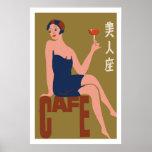 Vintage japanese matchbox cover (Cafe girl) Print