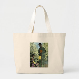Vintage Japanese Modern Maidens Large Tote Bag