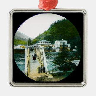 Vintage Japanese Morning Crossing Bridge Old Japan Metal Ornament
