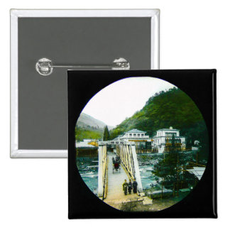 Vintage Japanese Morning Crossing Bridge Old Japan Pinback Button
