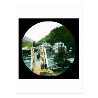 Vintage Japanese Morning Crossing Bridge Old Japan Postcard