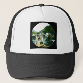 Vintage Japanese Morning Crossing Bridge Old Japan Trucker Hat