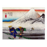 Vintage Japanese Mount Fuji Woodblock Print Postcard