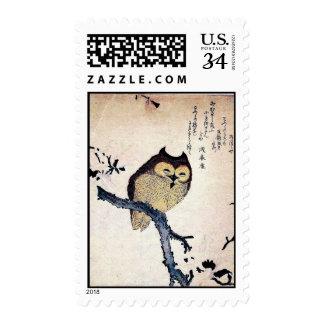 Vintage Japanese Owl Postage Stamp