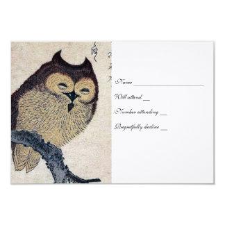 Vintage Japanese Owl rsvp with envelopes 3.5x5 Paper Invitation Card