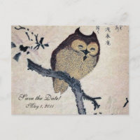 Vintage Japanese Owl Save the Date Announcement Postcard