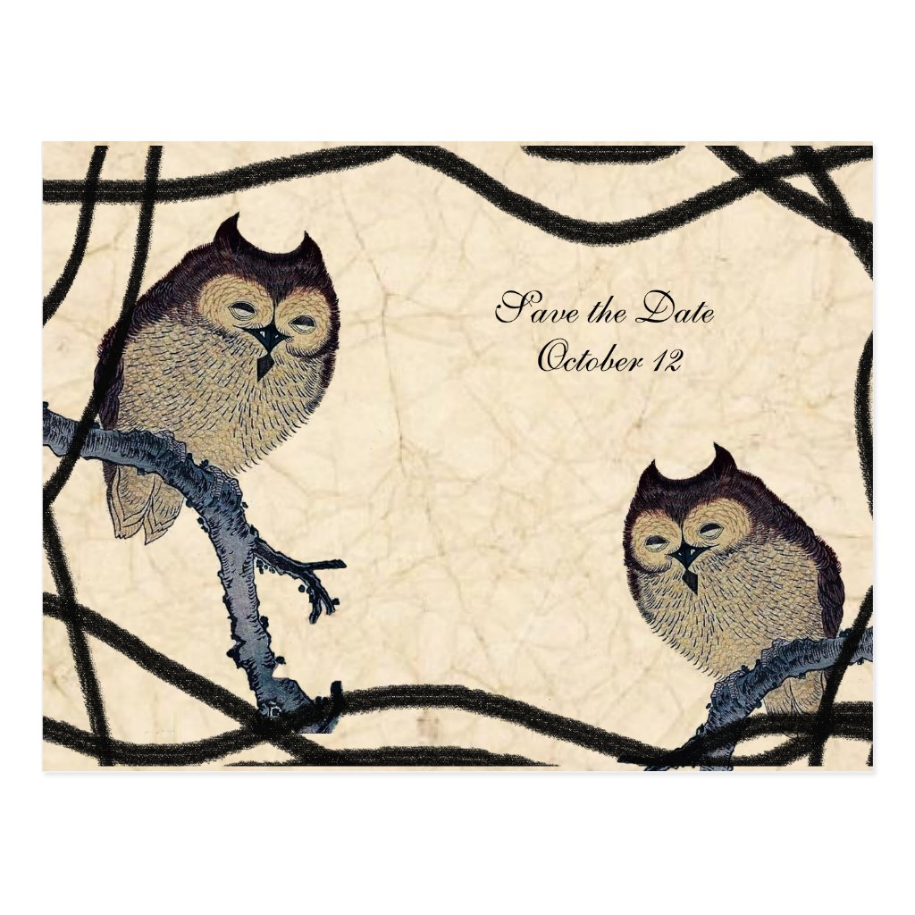 Vintage Japanese Owl Save the Date 8 postcards.