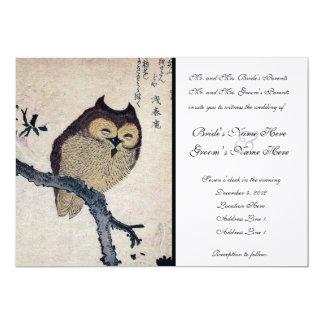 Vintage Japanese Owl Wedding Invitation