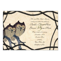 Vintage Japanese Owl Wedding Invitation