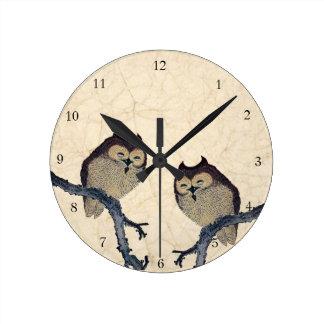 Vintage Japanese Owls Round Clock