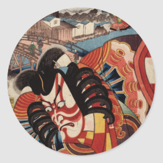 Vintage Japanese Painting - Kabuki Actor Classic Round Sticker