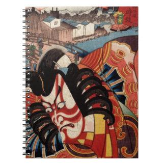 Vintage Japanese Painting - Kabuki Actor Spiral Notebook