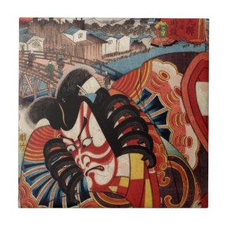 Vintage Japanese Painting - Kabuki Actor Tile