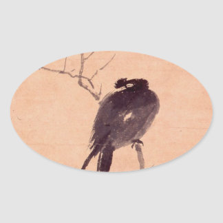 Vintage Japanese Painting of A Bird Oval Sticker