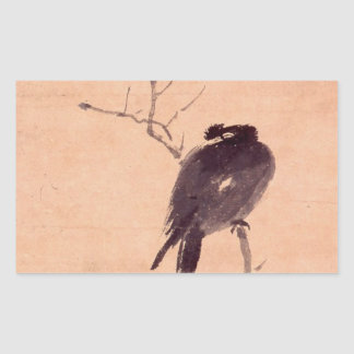 Vintage Japanese Painting of A Bird Rectangular Sticker