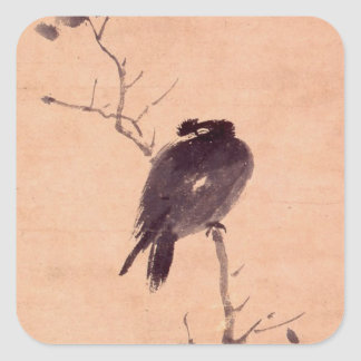 Vintage Japanese Painting of A Bird Square Sticker