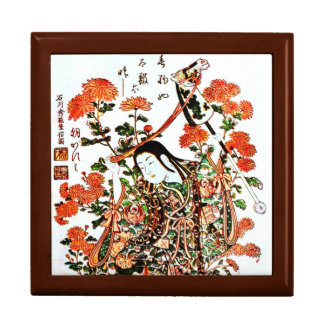 Vintage Japanese Painting of A Kid Playing Horses Jewelry Boxes