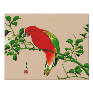 Vintage Japanese Painting of a Parrot, Red & Green Faux Canvas Print