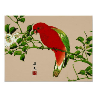 Vintage Japanese Painting of a Parrot, Red & Green Poster