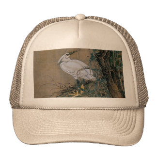 Vintage Japanese Painting Of A White Bird Trucker Hat