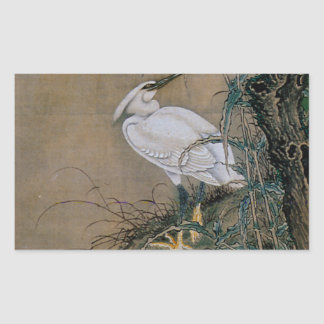 Vintage Japanese Painting Of A White Bird Rectangular Sticker