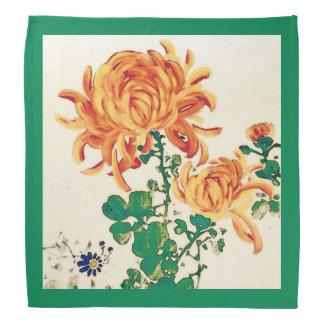 Vintage Japanese Painting of Chrysanthemums Bandana