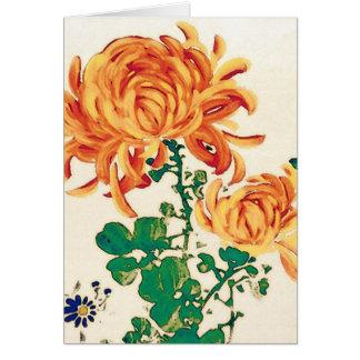 Vintage Japanese Painting of Chrysanthemums Card